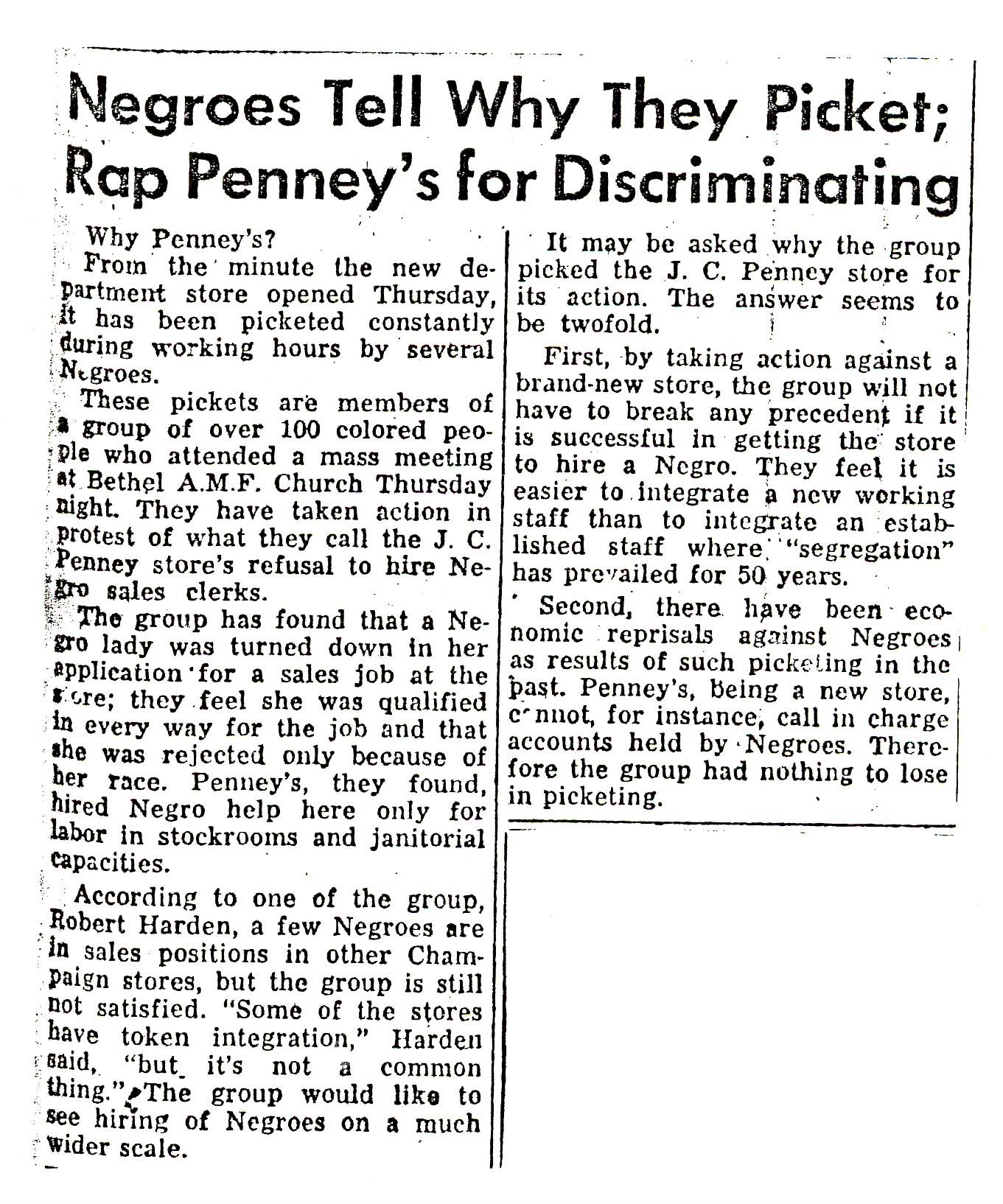 newspaper article on civil rights movement